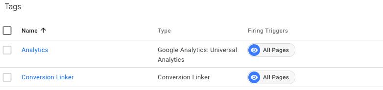 Etichete GTM obligatorii: Universal Analytics si Conversion Linker