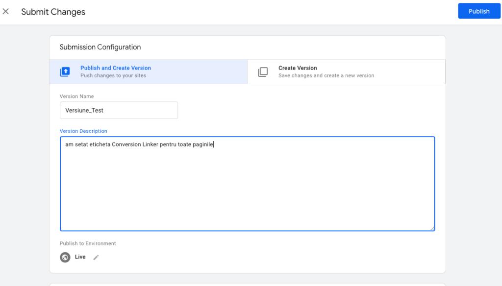 Noua versiune a containerului Google Tag Manager