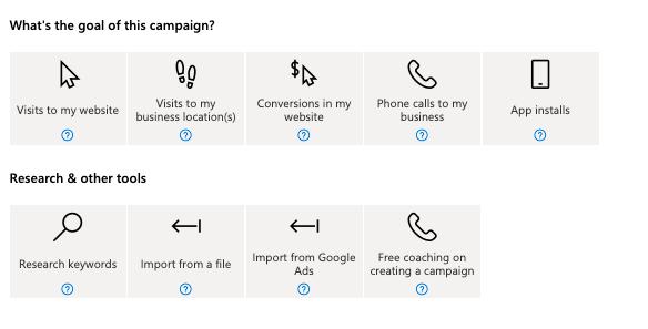 Obiective pentru campaniile Bing Ads